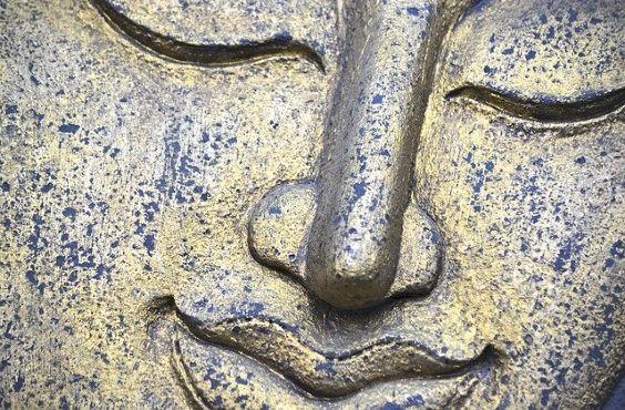 buddha gesicht blau gold