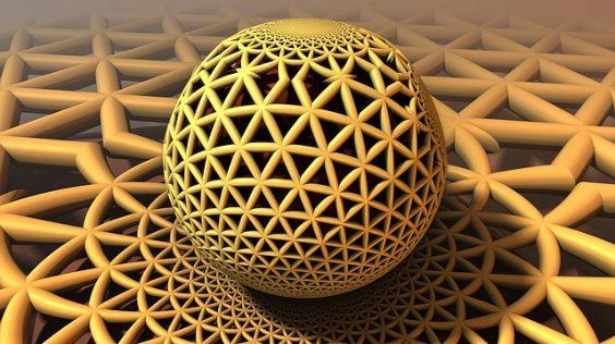 fraktal komplex kugel gelb netz