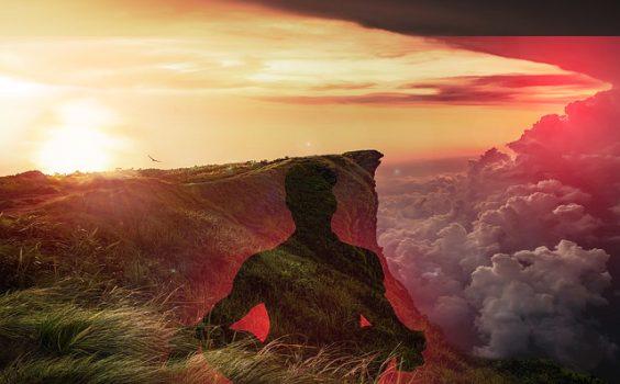 landschaft meditation wolken rot