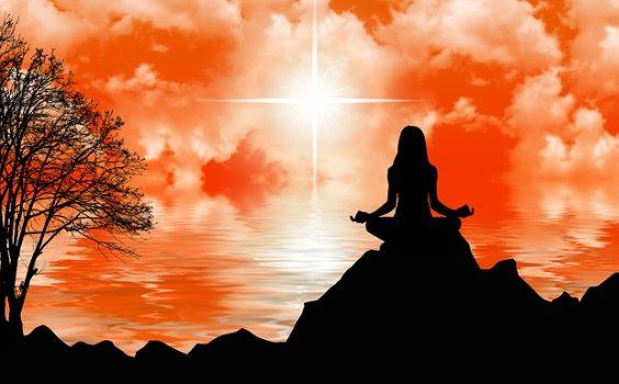 meditation fels frau sonne baum 564